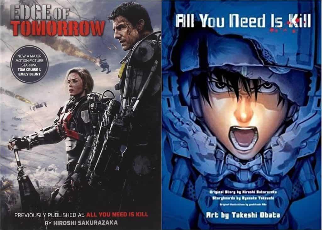 Live-action a esquerda, homem e mulher em uma armadura de combate. Manga a esquerda, capa toda azul com um homem de boca aberta gritando