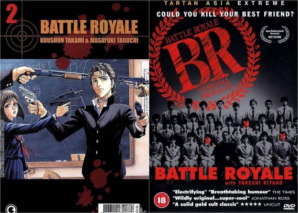Live-action: Capa manga a esquerda, estudantes apontando a arma para um menino, enquanto ele aponto a arma para outros, a direita capa do DVD um turma de estudantes sentados para uma foto