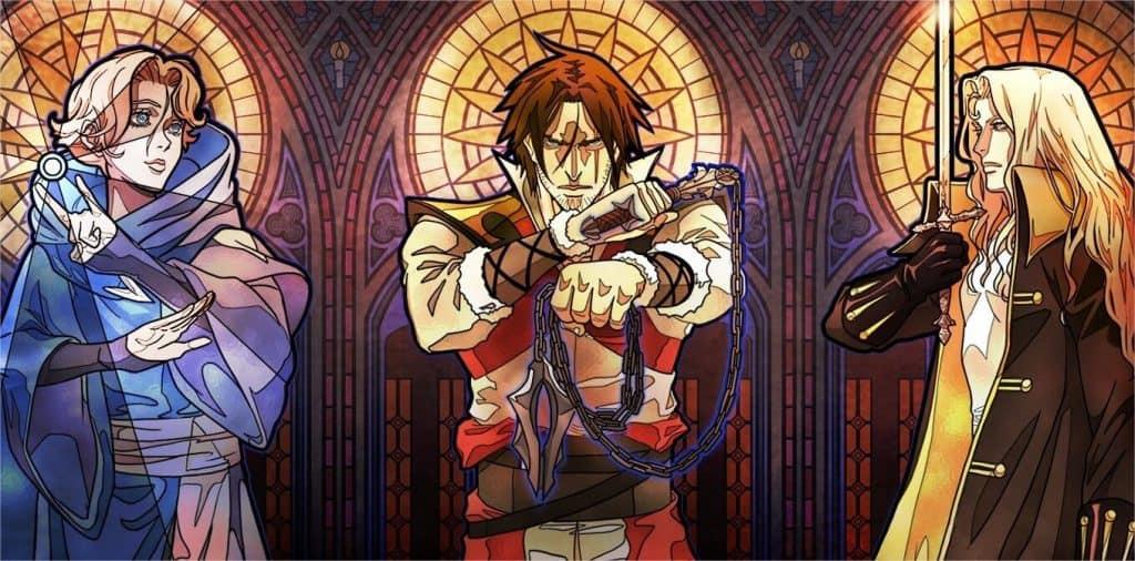 Castlevania personagens principais em jeito espelhado de igreja