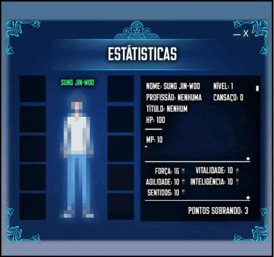 Estatisticas iniciais do Jin-Woo de Solo Leveling