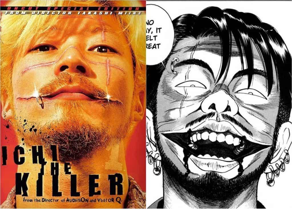 Live-action a esquerda, homem japones loiro, chieo de cicatrizes e piercings olhando de cima para baixo. A esquerda manga, homem cheio de cicatrizes olhando de cima para baixo com sua boca rasgada de um lado alargando o sorriso