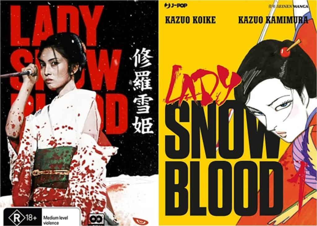 Live-action a esquerda, mulher com o kimono manchado de sangue segurando uma faca. Manga a direita, capa amarela com uma mulher segurando uma faca