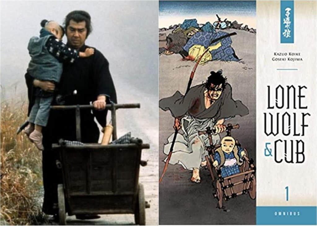 Live-action, a direita samurai carregando seu filho empurrando um carrinho, capa do manga a esquerda