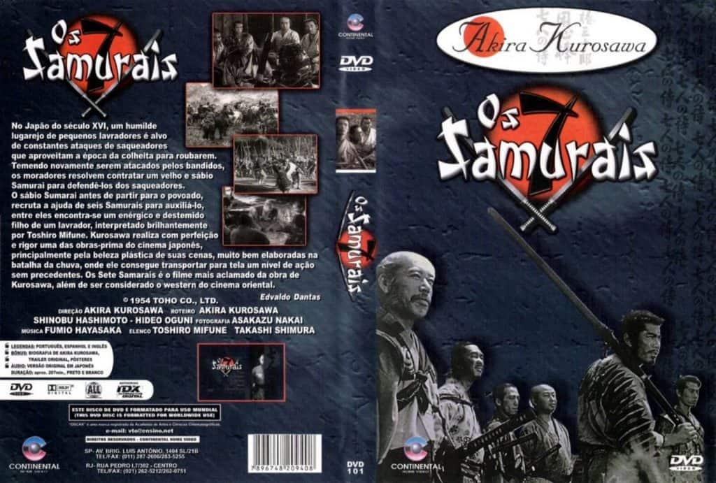 Capa do DVD os Sete Samurais, a esqueda sinopse do filme a direta os sete samurais