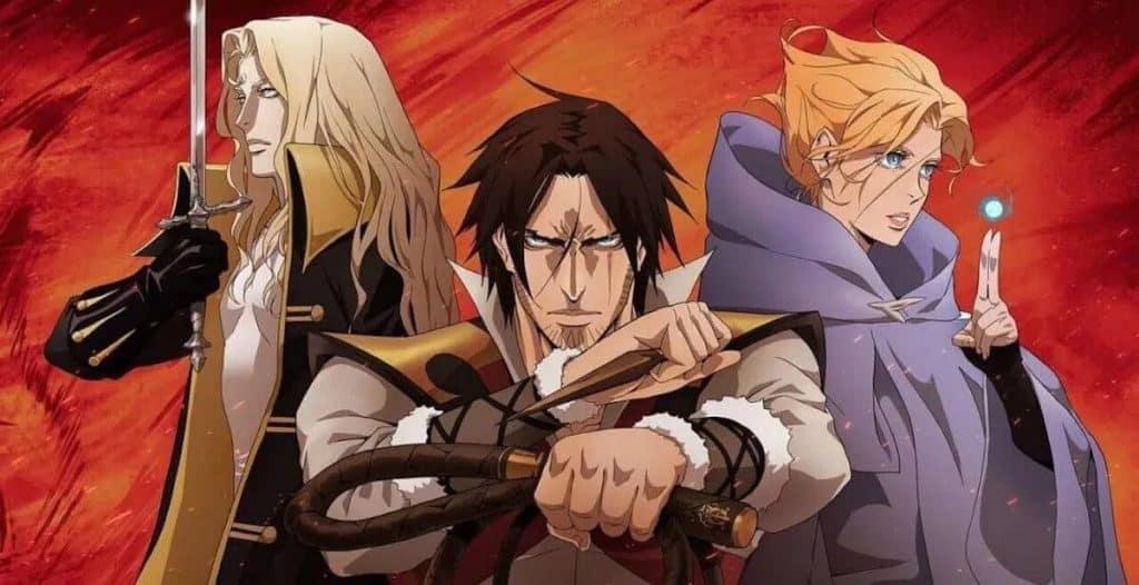 Terceira temporada de castlevania anunciada com personagens principais na foto lado a lado