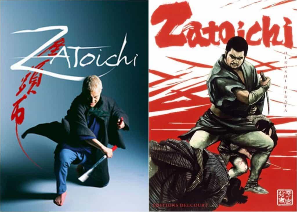 Live-action a esquerda, samurai fazendo um corte para baixo, a direita capa manga, samurai segurando uma espada e um homem caido a frente