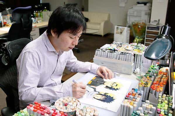 Kishimoto trabalhando na obra de Naruto