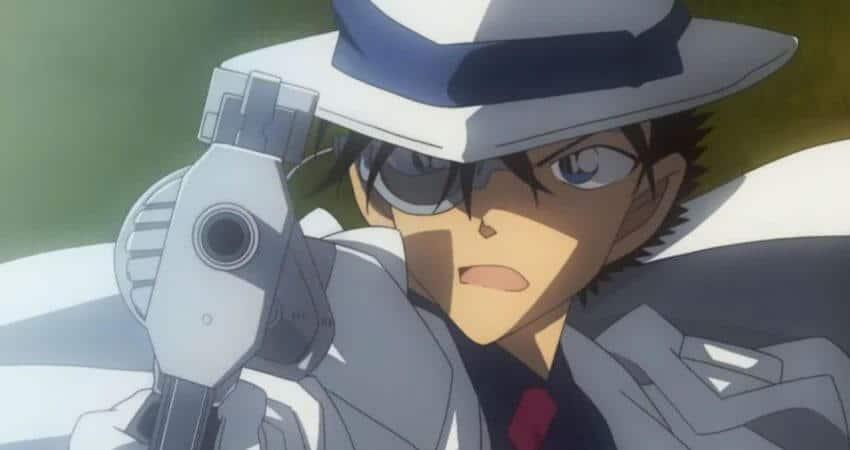 Detective Conan The Fist of Blue Sapphire filme Animação do Ano protagonista segurando uma arma