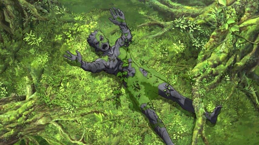Dr-Stone Taiju petrificado na natureza com moitas em cima dele