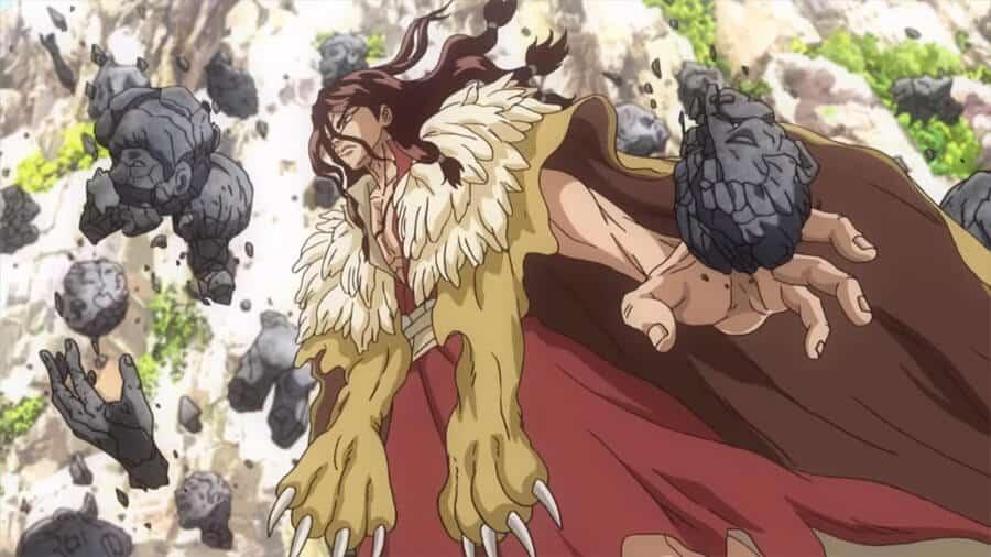 Dr. Stone Tsukasa quebrando estátuas com as mãos com cara de bravo