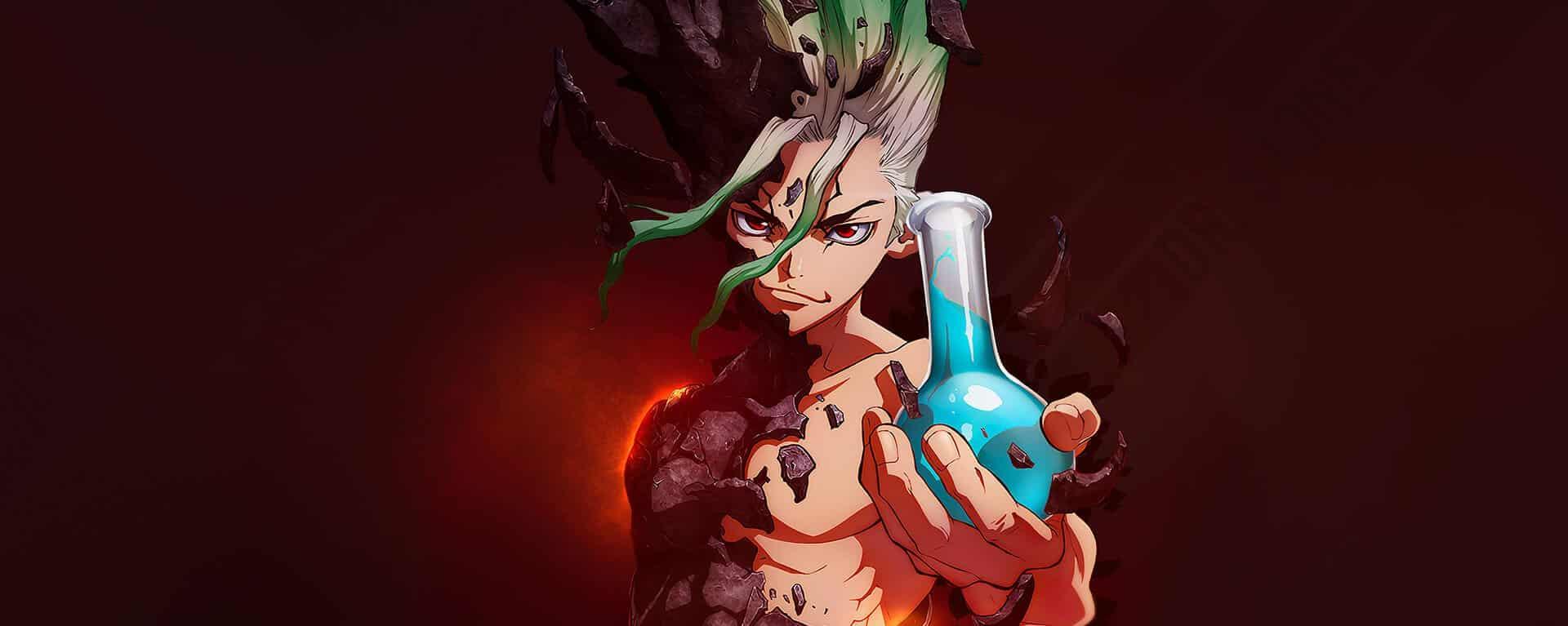 Protagonista do anime Doctor Stone chamado senku com uma ampulheta