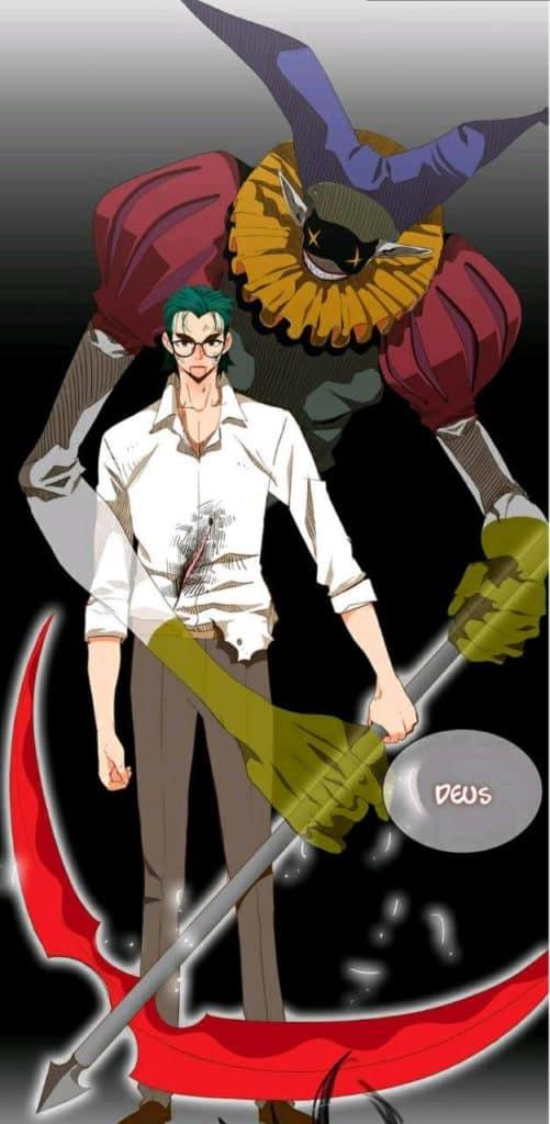 Juiz Q mostrando seu real poder uma espéci de coriga invisivel segurando uma foice Stand The God of High School