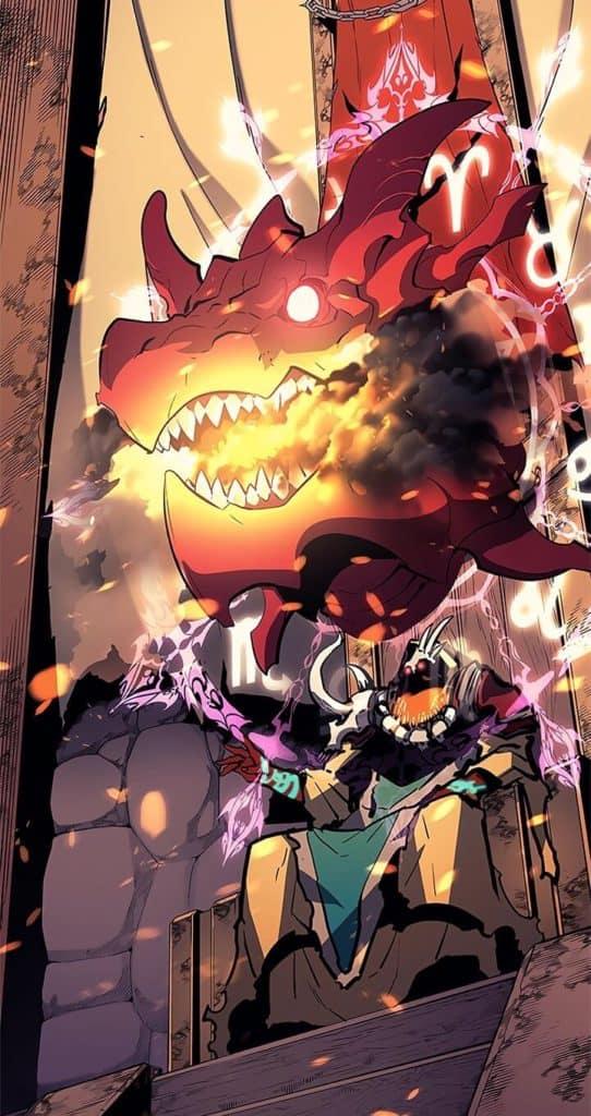 Karglan sentado no trono e um dragão mágico acima da cabeça dele