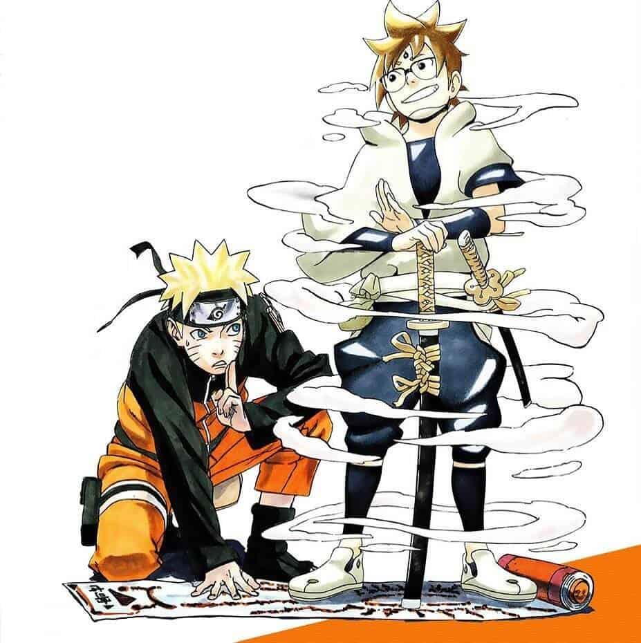 Naruto Junto de Samurai 8, ambos se olhando, de baixo para cima