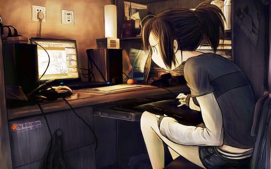 Focada no trabalho dentro da indústria dos animes