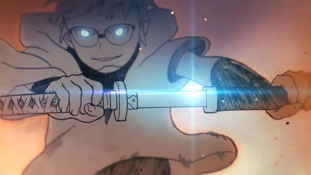 Hachimaru desembainhando uma espada