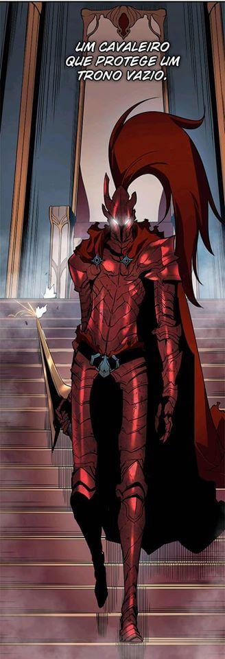 Cavaleiro Igris de armadura vermelha segurando uma espada e um trono ao fundo