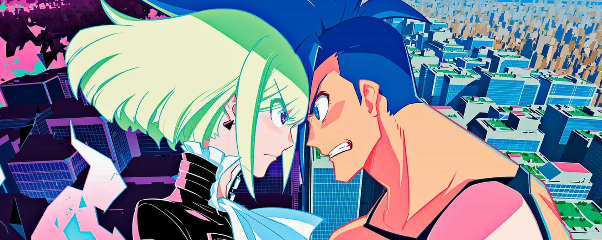 Lio e Galo se enfrentando personagens de promare