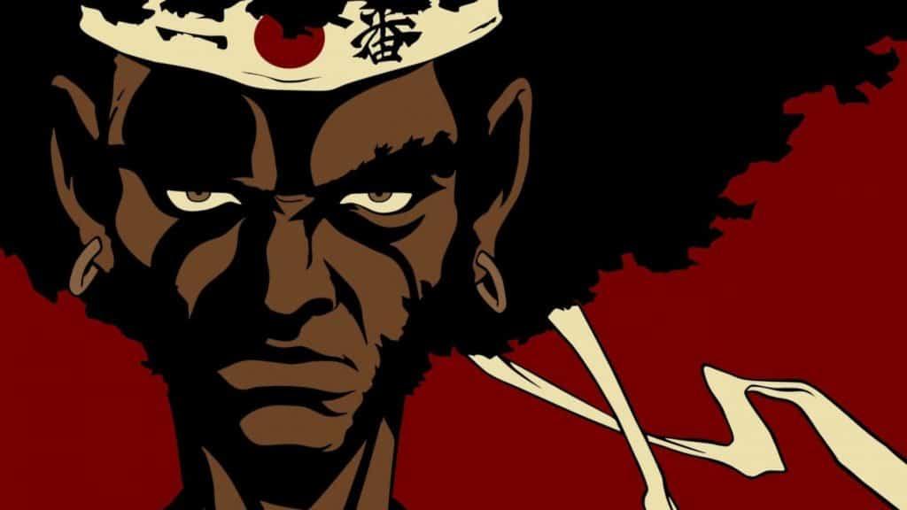 Afro samurai com a bandana de numero dois na testa olhando sério para frente