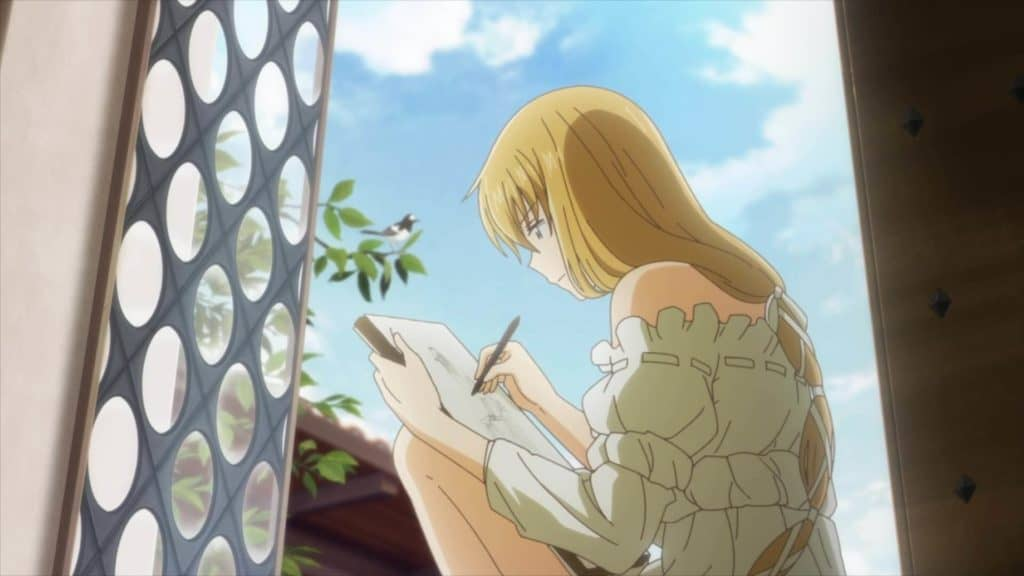 Arte Anime protagonista desenhando na janela