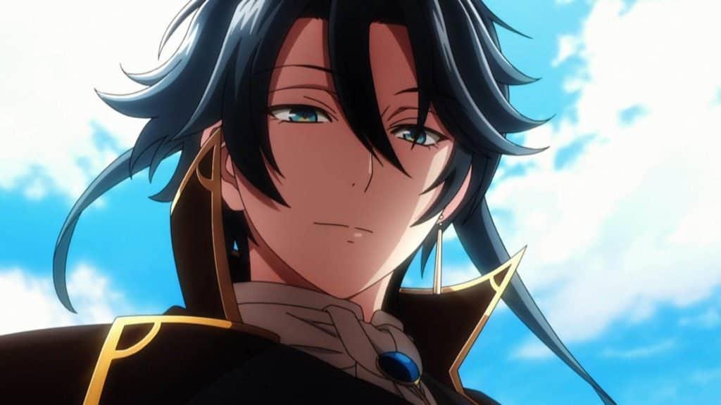 akutagawa personificado no anime com cabelo longos pretos olhos azuis, brinco na orelha esquerda