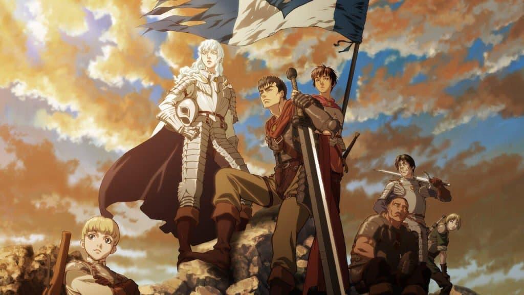 Griffth, Caska, Guts e outros personagem em cima de uma colina ao por do sol, anime seinen de respeito