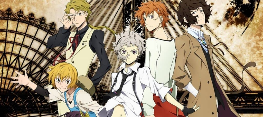 Capa do anime seinen Bungou Stray dogs, persoangens principais a frente