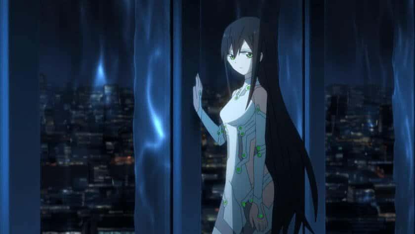 Kaeura-Chan com uma de suas mãos a uma janela de um prédio e olhando para a tela com um olhar triste
