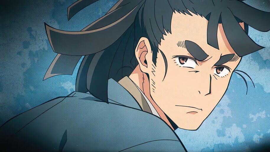 Kasame Isshiki olhando sério com um fundo azul ao fundo