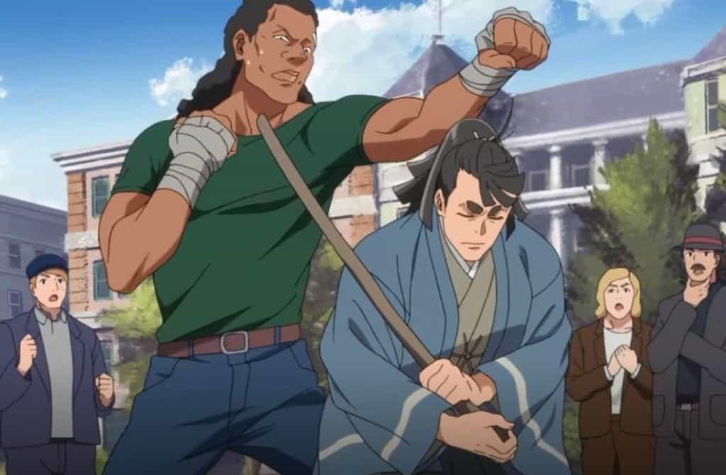 Kosame personagem de Appare-Ranman! mostrando suas habilidades com a espada, esquivando de um soco e mostrando que poderia ter acertado um ponto vital no processo