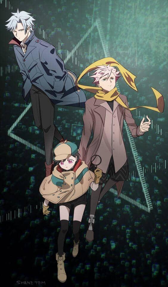Os três protagonistas de ID: Invaded, Sakaido, Hondomachi e Fukuda