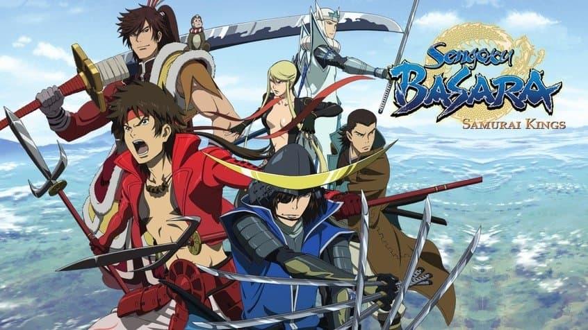 Guerreiros samurais do periodo sengoku fazendo pose na capa de divulgação do anime