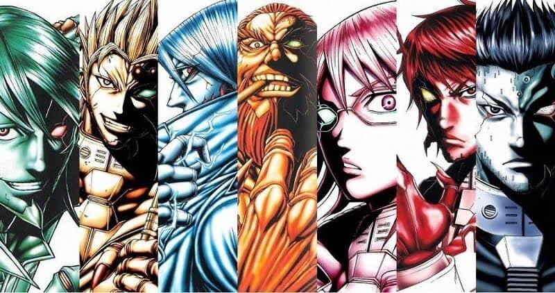 Anime Seinen Terra Formars personagens principais na capa