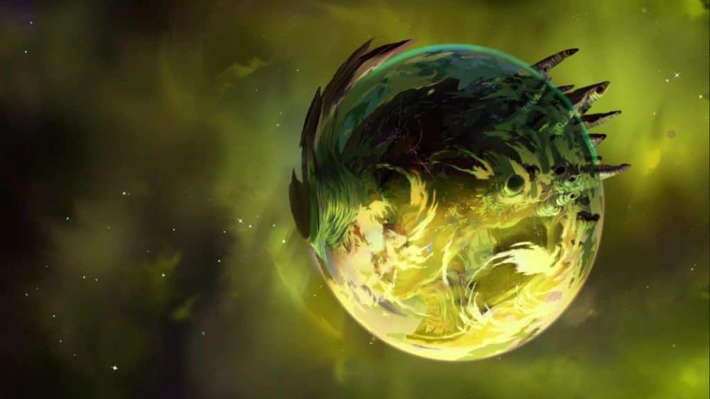 Imagem de uma Balmera. Criatura que se assemelha a um planeta sem sua aparencia e tamnho