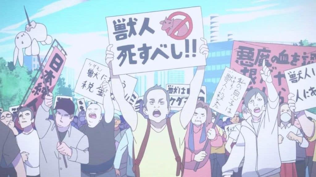 grupo anti homem-besta protestando
