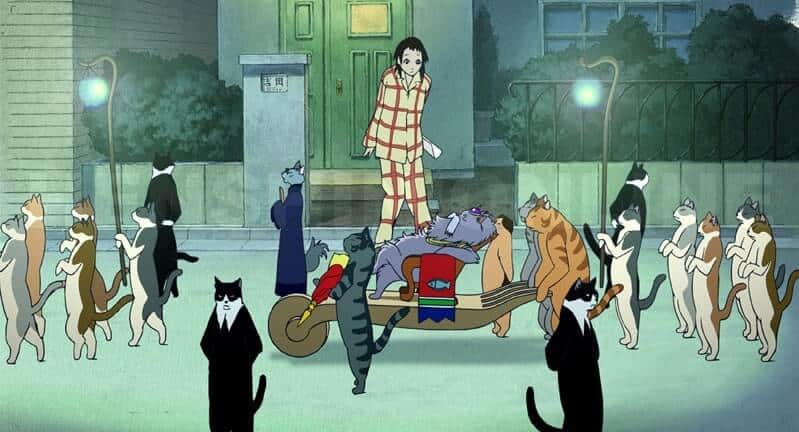 haru em meio muitos gatos no filme