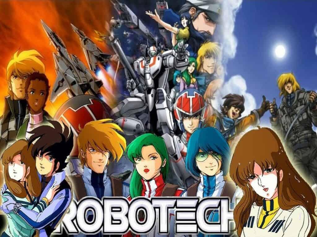 Imagem mostrando às três animaçãoes da serie Robotech