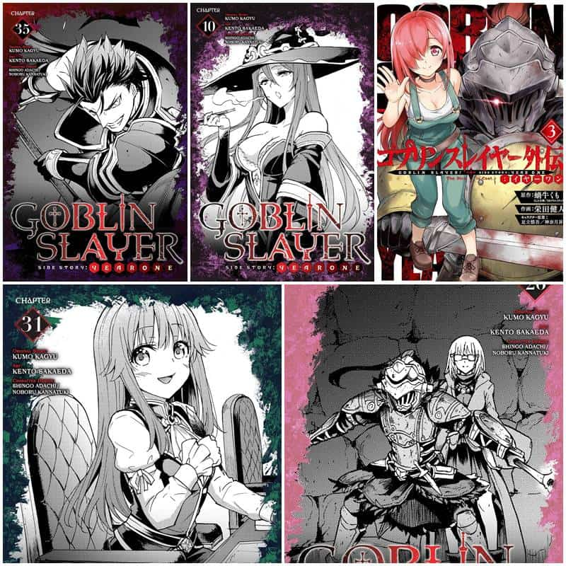 Capas dos Capitulos 3,1,10,23,31,35 de Goblin Slayer Year One