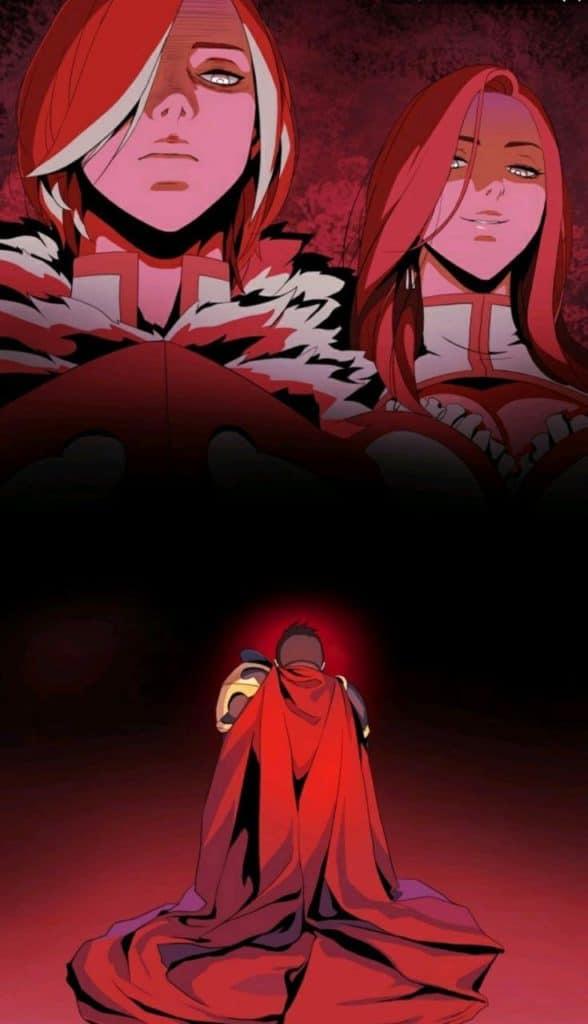 Protagonsita de capa ajoelhado frente a dois outros personagens