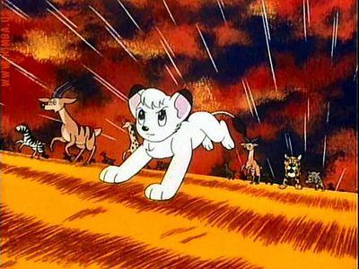 Kimba o Leão Branco de Tezuka correndo em cores