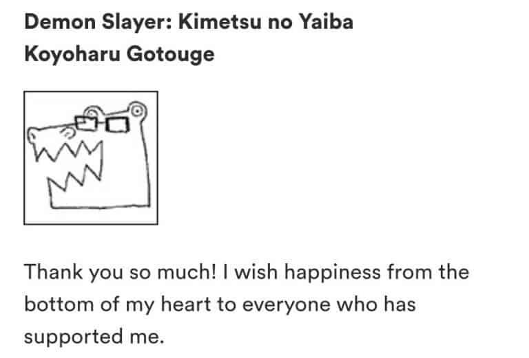 Koyoharu Gotouge mensagem para os fãs sobre Demon Slayer
