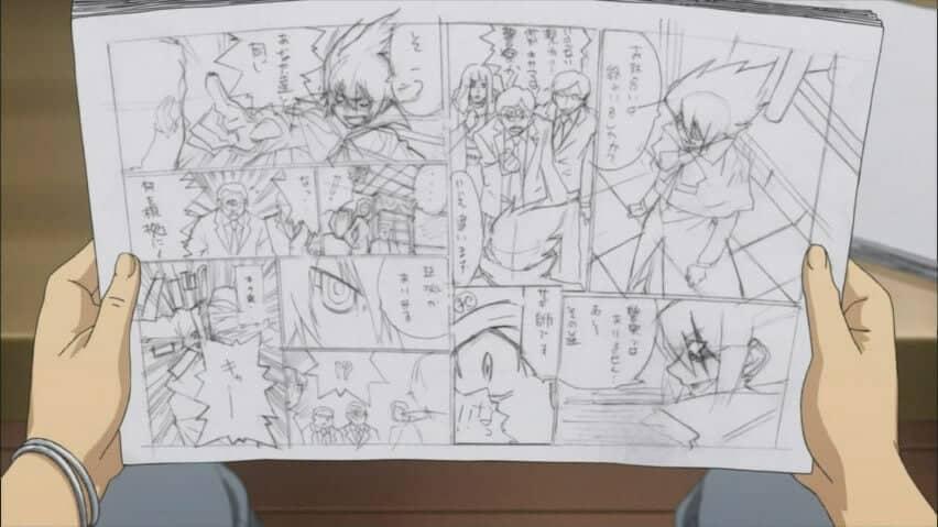 Manuscrito de Bakuman com mais detalhes que o name