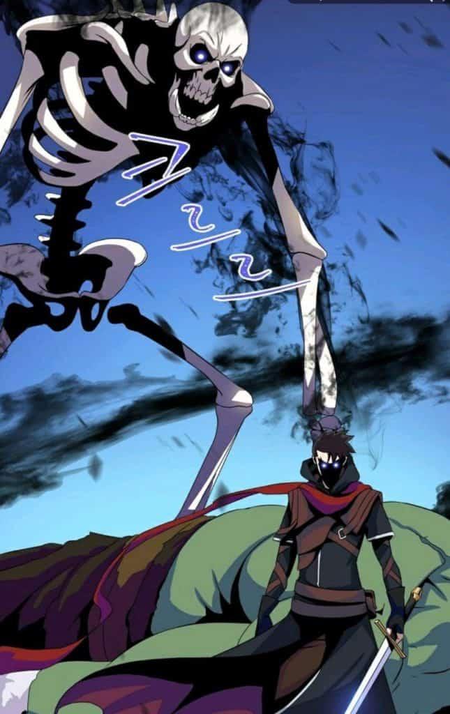 Protagonista invocando um esqueleto com seu poder necromance parecidos com Solo Leveling