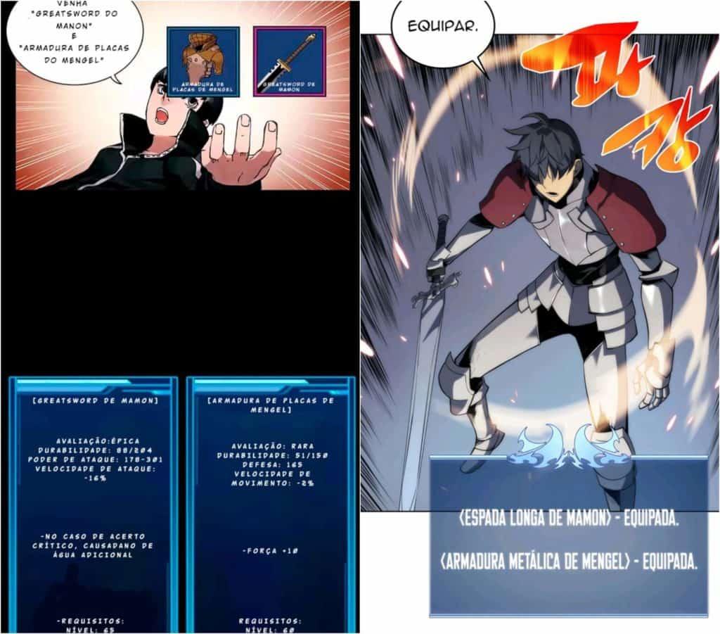 Overgeared antes e depois design parecidos com Solo Leveling