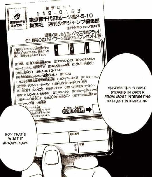 Questionário da Shonen Jump em bakuman preto e branco