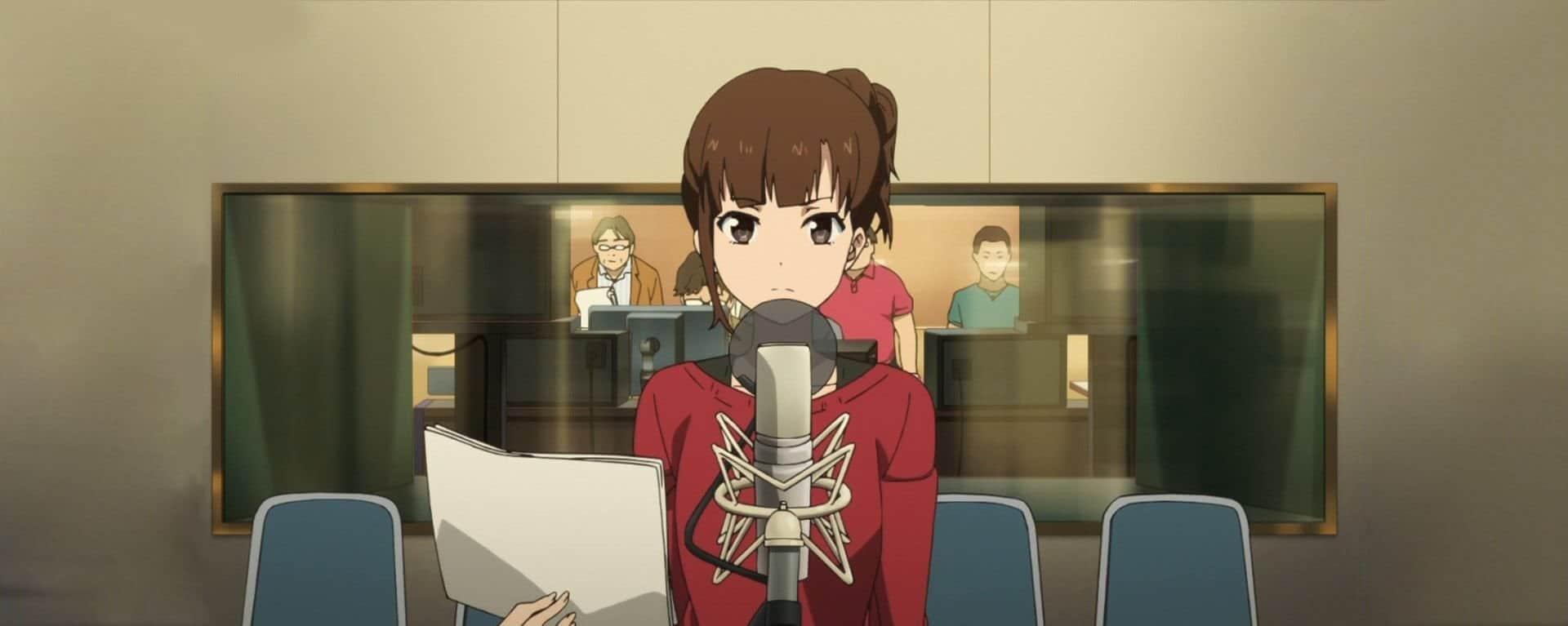 lista de animes dublados - personagem de shirobako fazendo um teste de dublagem em um estúdio