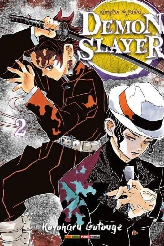 demon slayer volume 2 com tanjiro e muzan na capa