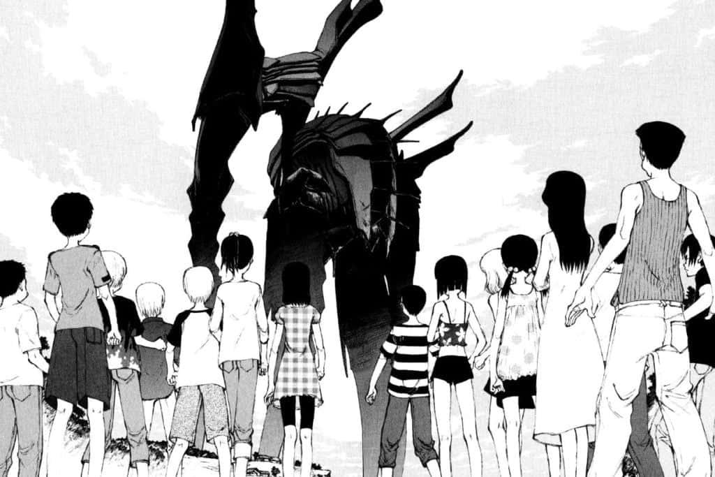 crianças e o robô zearth em bokurano