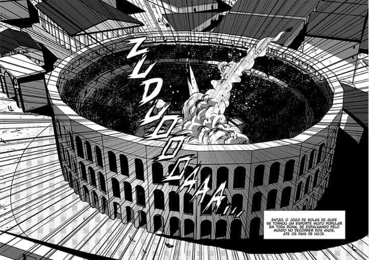 Partida de Digude acontecendo na roma antiga, na imagem o colisseu