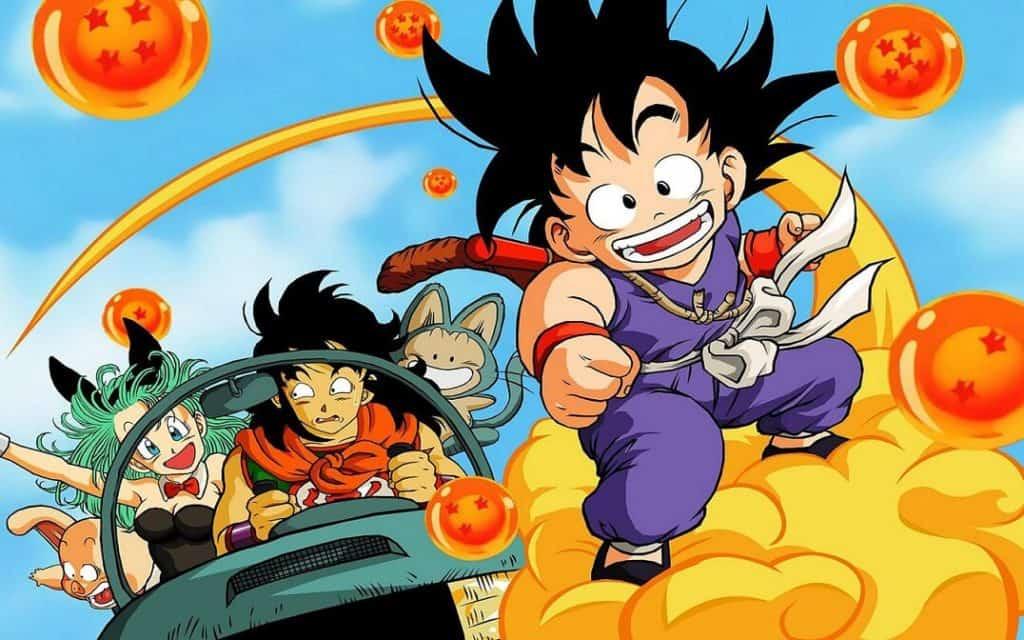 Dragon Ball anime famoso com goku em cima da nuvem voadora